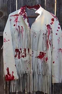 Vintage 1950s Zombie Cow Girl Coat Costume Bloodied Tan Leather Fringe Trim Smal - Cowgirl Zombie Costume