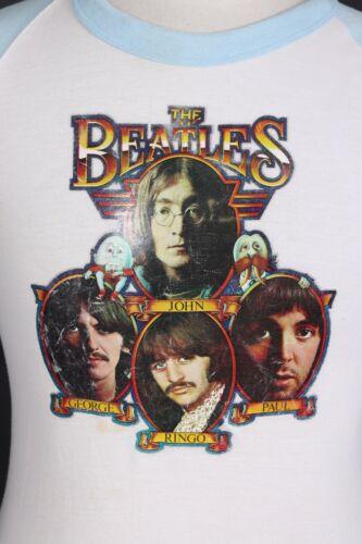 Vintage THE BEATLES Iron-on Transfer Ragland Sleeve T-Shirt USA Mens Size Medium