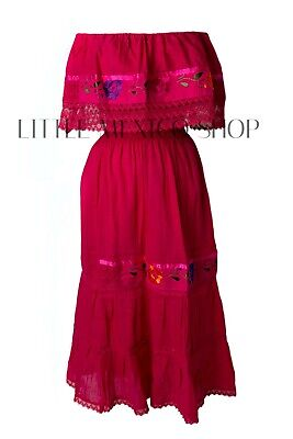Fuchsia Crochet - FUCHSIA Mexican Peasant Off Shoulder Dress Fit Med-XL Embroidered Floral Crochet