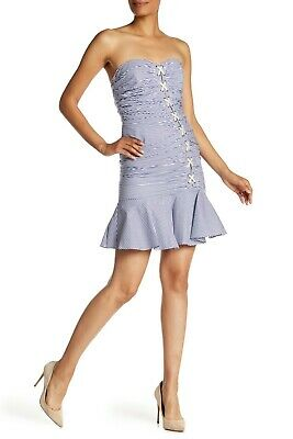 Veronica Beard Blue White Lace Up Bustier Flounce Dress Size 2 Orig $450 - Short White Beard