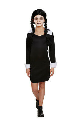 ily Fancy Dress Costume Scary School Girls Halloween Outfit (Addams Family Wednesday Halloween-kostüm)