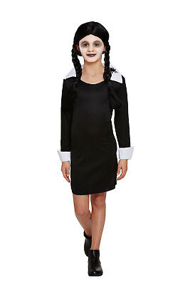 Wednesday Addams Family Fancy Dress Costume Scary School Girls Halloween Outfit