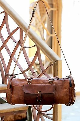 """New 24"""" Men's duffel genuine Leather large vintage travel gym bag tote carry on"""