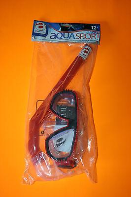 tuba masque set plongée Rouge  aqua sport équipement de plongée Adulte + 12 Ans