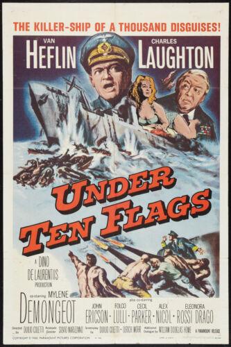 UNDER TEN FLAGS original 1960 WW2 one sheet movie poster MYLENE DEMONGEOT