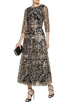 NOTTE BY MARCHESA Tulle Top & Skirt 2 Pc Set Embroidered Black Gold $1305 NWT