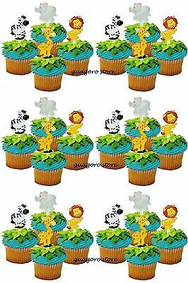 Jungle Safari NOAH'S Cupcake Picks 24 Animal Cake Toppers Birthday Baby Shower ()