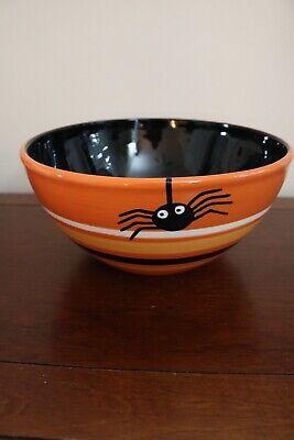 HALLOWEEN Bowl Large Shiny Black & Orange Dangling Black Spiders Treats Candy