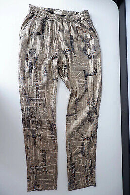 Isabel Marant X H&M Gold Pants Trousers Size 40 Uk 12 66% Silk VGC High Waisted