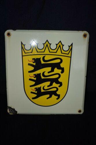 Baden-Württemberg Germany Coat Of Arms Vintage Enamel Sign
