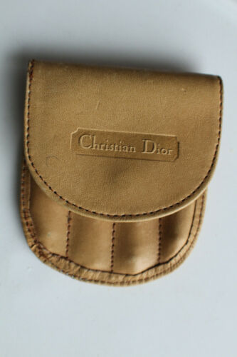 Vintage Mens Christian Dior Logo LEATHER Collar Stay +Tie Bar Case