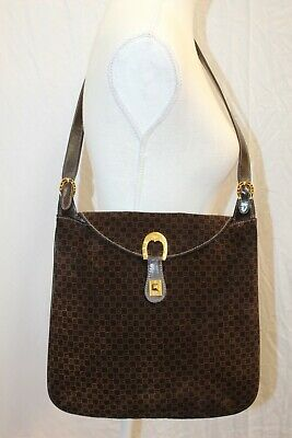 GUCCI Vintage GG Brown Suede Messenger Cross Body Shoulder Bag Tote