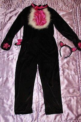 100 (4) Katzenkostüm Hexen Kitty Mädchen Halloween Catsuit Kostüm 9-10 Jahre ()