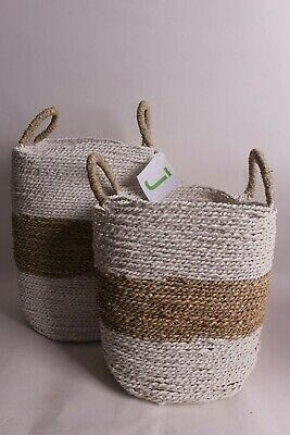 NWT Pottery Barn Catalina Woven baskets: set of 2 by jeffan white natural