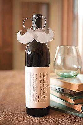 Kalalou CQ6463 Raw Metal Mustache Wine Bottle Decor Gift Art Topper