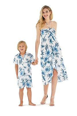 Hawaii Hangover Mather Son Hawaiian Luau Matching Outfit In Day Dream Bloom Whit