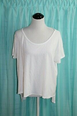 Fabletics Women's White Short Sleeve Hi Low Tee T-Shirt Sz XL Loose Fit