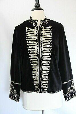 Zara Velvet Blazer Medium Military Jacket New Women Coat Gold embroidery