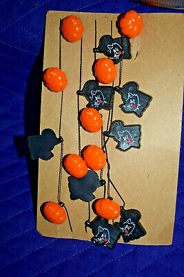 Estate Halloween Garland Pumpkins and Cats for Small Tree 4 ft Long LOOK