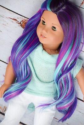 """11"""" Custom Ooak  Wig for 18"""" American Girl doll Gotz rainbow Wig 10-11"""" Cap"""