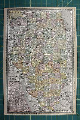 Illinois Vintage Original 1892 Rand McNally World Atlas Map Lot