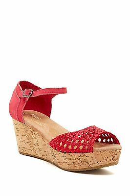 NEW Authentic TOMS Woven Satin Platform Wedge Sandal, Pink, Women's Size 8.5 Satin Platform Sandal
