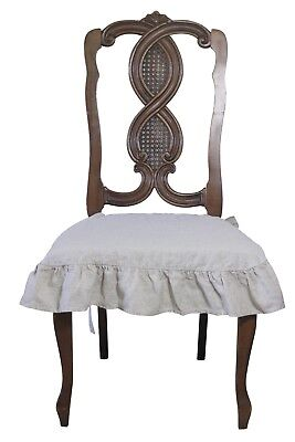 100% Linen Chair Cover Slipcover with 4 sided Ruffle in Natural - Ruffled Chair Covers