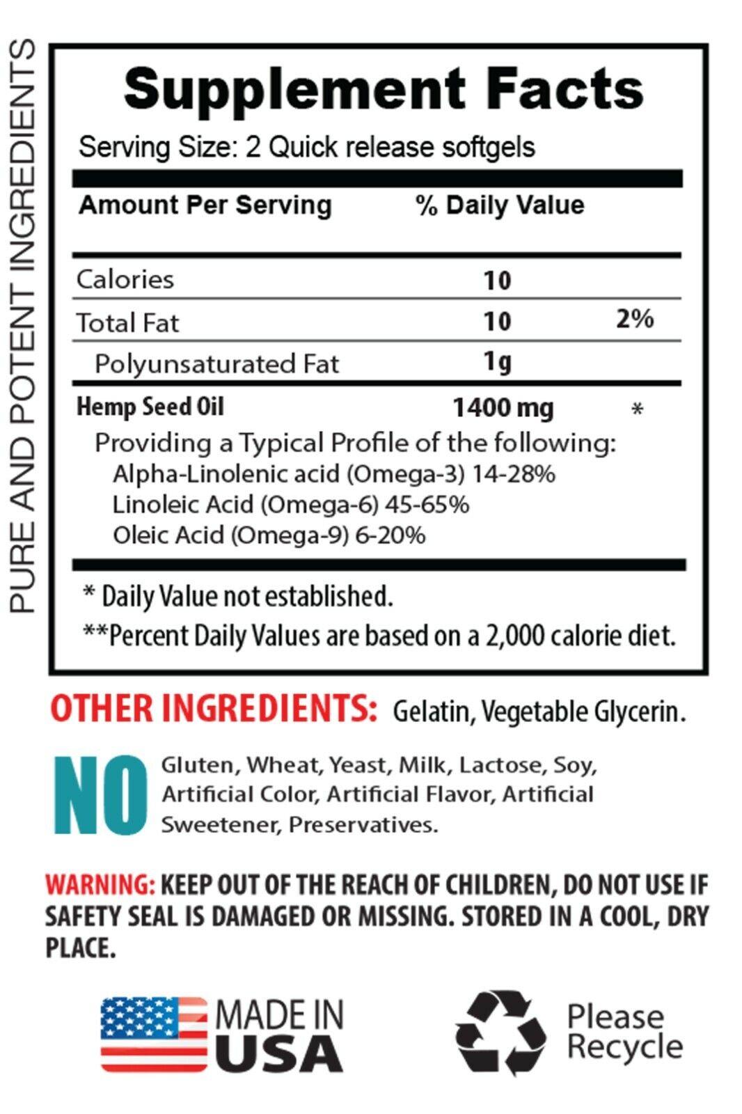 omega fatty acids, ORGANIC HEMP SEED OIL 1400mg, alpha linoleic acid 1B 1