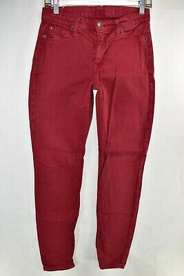 Hudson Nico Super Skinny Midrise Red Maroon Jeans Size 28 Stretch Meas. 27x30