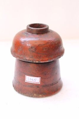 Vintage Hand Carved Lacquer Painted Wooden Kum Kum Powder Tikka Box NH3905