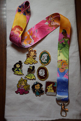 Disney Pin Princess Starter Set Lanyard A & 8 Princess pins Ariel Jasmine Belle