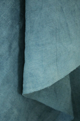 Antique French Blue Dyed Linen Grain Sack Fabric