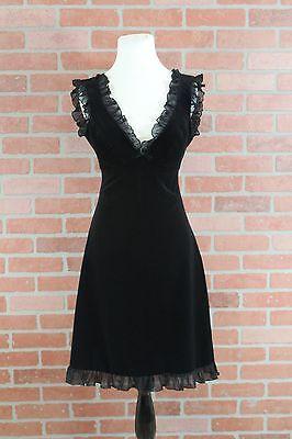Moda International Black Velvet Empire Waist Dress Womens Size 2
