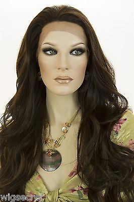 Frosted Streaked Dark Brn with Auburn Brunette Long Lace Front Wavy Straigh Wigs (Long Brunette Wig)