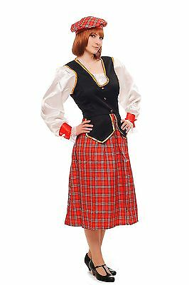 Costume Ladies Ladies Fancy Dress Scotsman Scot Scotswoman Scottland Scot K46](Scotsman Costume)