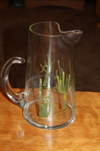 NEIMAN MARCUS Glass Cactus Pitcher