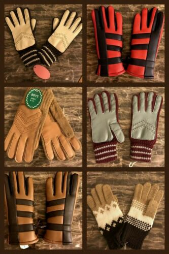 9 Vintage Kids Gloves Boys Girls Acrylic Faux Leather Brown Red Gray 1970s LOT