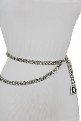 Women Silver Metal Chain Link Trendy Dress Up Belt Lion Charm Buckle Size M L XL](Trendy Dress Up)