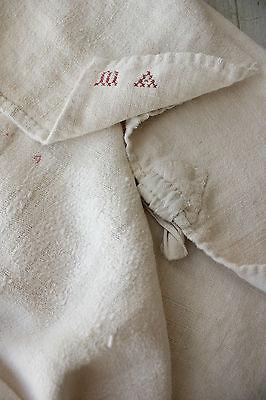 Antique French soft PALE homespun hand / kitchen Primitive timeworn towel 18th c