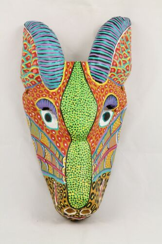 Wood Hanging Mask Hand Crafted/Painted Décor Mexican Folk Art Signed Goat #3