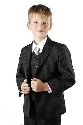 Jungen Anzug schwarz Nadelstreifen Smart Beerdigung 5 Stück Satz alter 1-13