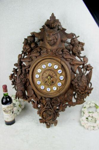 XL Antique BLACK FOREST wood carved wall clock hunt bird deer horn floral
