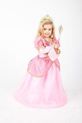 Rosa Prinzessin Mädchen Kleid  Kinder Kostüm Set mit Krone  Karneval Verkleidung