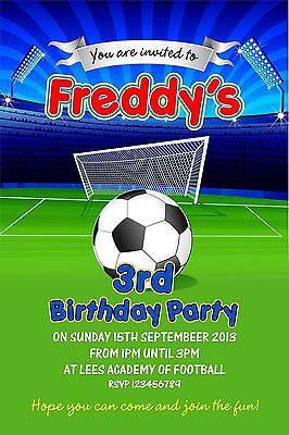 Personalised Birthday Invitations Football Party x 5 (Football Birthday Invitations)