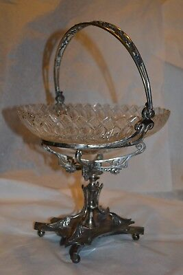 Ant Brides Basket w Hand Cut Crystal Bowl WILCOX Quadro Plate Exquisite#597219H