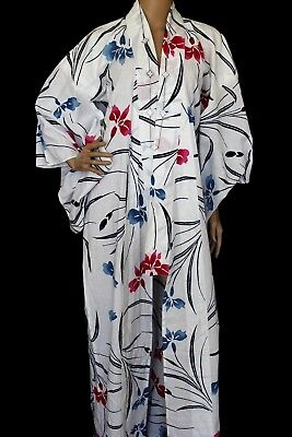VINTAGE Cotton White Floral Slightly-SHEER Hippie Boho Maxi KIMONO DRESS L