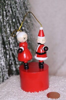 Vintage wood Push toy Christmas ornament  Santa & Mrs. Santa dancing