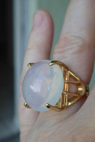 14K Large 17.21 CT Antique Moonstone Cabochon Ring, Size 6.5