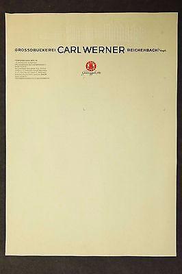 Grossdruckerei Carl Werner Reichenbach - Firmen Briefkopf Reklame Briefbogen /M1