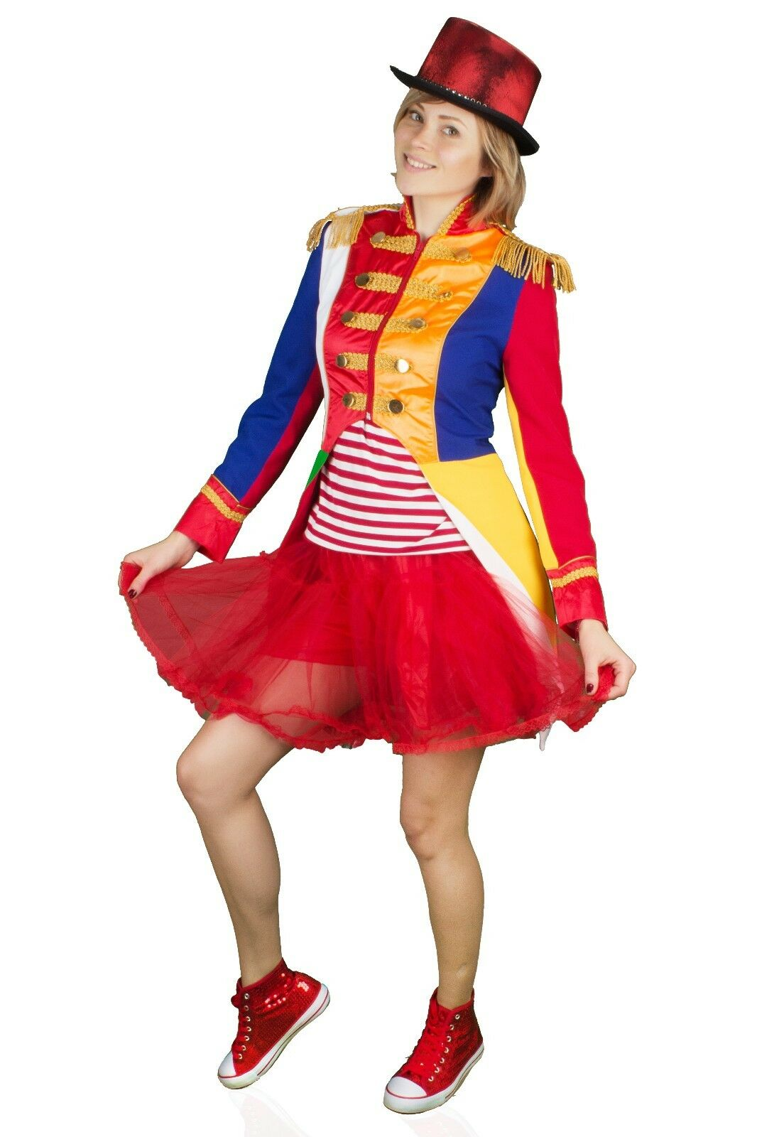 Karnevalskostüm Bunte Damen Soldat Jacke Uniform Fasching Gehrock Köln 36-54